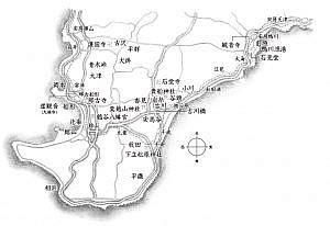 「華の栖」の関連地図。古川橋を中心に安房の各地が舞台として登場する。