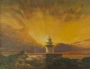 夕景の洲崎灯台(F10号)