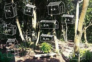 森の小屋展DM