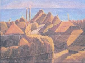 「漁村風景」油彩P10号 1924年(大正13年)作