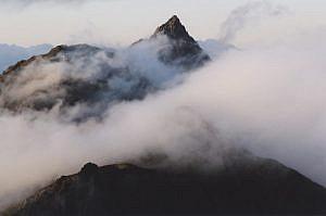 「夕光の槍ヶ岳」並木明